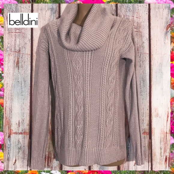 Belldini Cowl Neck Cable Knit Shimmery Sweater